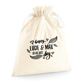Pochette zéro déchet pour emballer des cadeaux modèle Happy