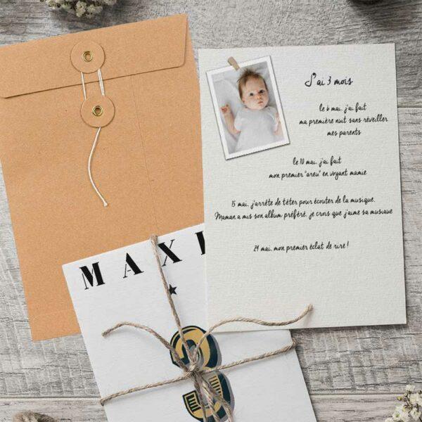 Cartes 1ère année bébé personnalisée avec son prénom modèle London verso
