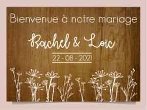 panneau déco en bois mariage Fleurs des Champs