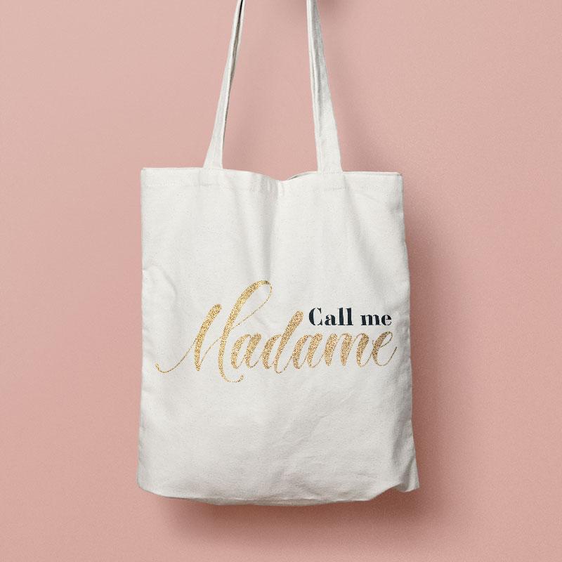 tote bag de la mariée personnalisé call me madame