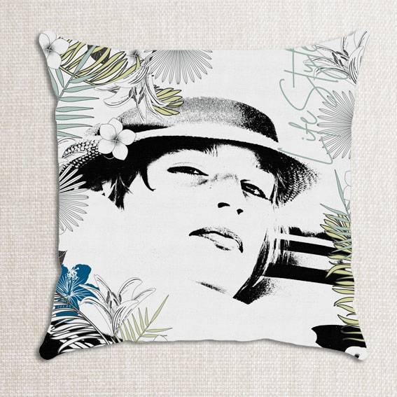 housse de coussin lin personnalisée avec photo et motif palmes