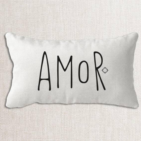 Housse de coussin Amour en lin lavé blanc et texte sérigraphie noir