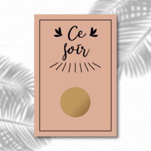 """Carte à gratter message surprise """"Ce soir"""""""