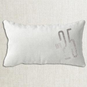 Housse de coussin lin date fétiche personnalisée texte couleur argent