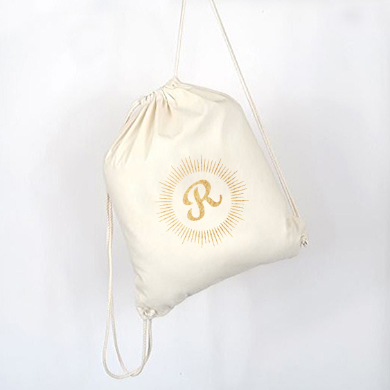 sac gym coton bio à personnaliser avec initiale 2