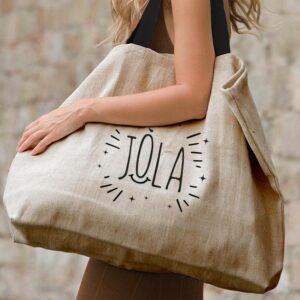 Grand sac cabas porté épaule matière naturelle anses en coton tressé