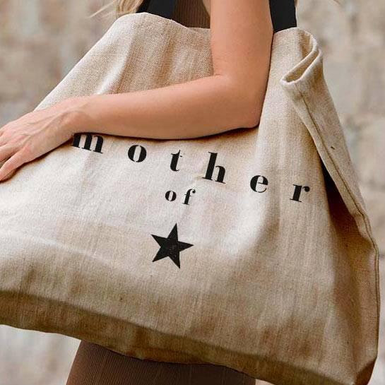 joli sac cabas cadeau personnalisé pour maman en matières naturelles