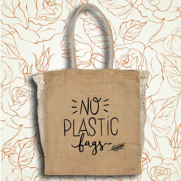 joli sac de courses écologique réutilisable pour aller au marché sérigraphie no plastic bags