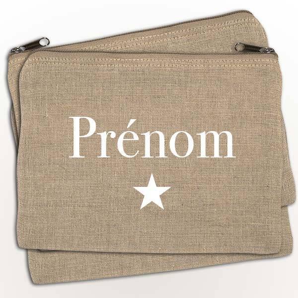 pochette de sac personnalisable prénom texte en blanc