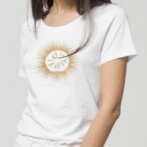 T-shirt femme 100% coton bio manches courtes col rond blanc sérigraphie oursin doré