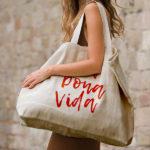 Grand sac cabas courses personnalisé sérigraphie rouge