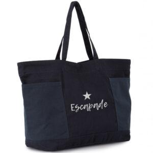 grand sac coton bio avec 2 grandes poches extérieures en bleu et texte argent