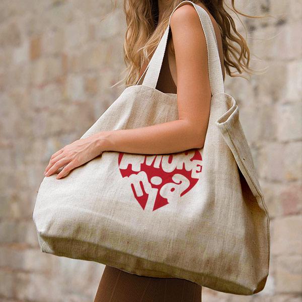 grand sac en jute et coton aspect rustique avec soufflet et poche intérieure couleur naturel sérigraphie rouge-01