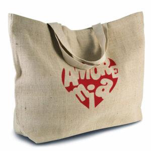 grand sac en jute et coton aspect rustique avec soufflet et poche intérieure couleur naturel sérigraphie rouge -02