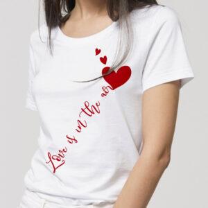 T-shirt femme 100% coton bio manches courtes col rond sérigraphie rouge