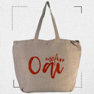grand sac cabas porté épaule matière naturelle sérigraphie en rouge