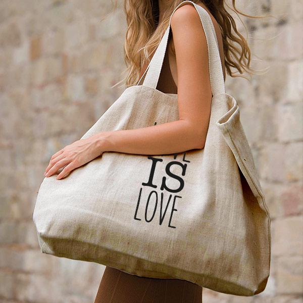 grand sac cabas porté épaule couleur et matière naturelle texte sérigraphié noir