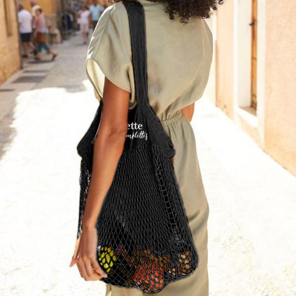 sac à provisions avec filet en coton noir et texte blanc