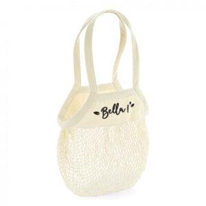 sac à provisions avec filet en coton écru et texte noir