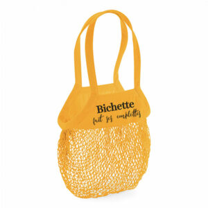 sac à provisions avec filet en coton jaune et texte noir