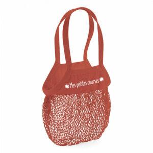 sac à provisions avec filet en coton orange brique et texte blanc