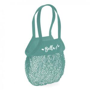 sac à provisions avec filet en coton turquoise et texte blanc