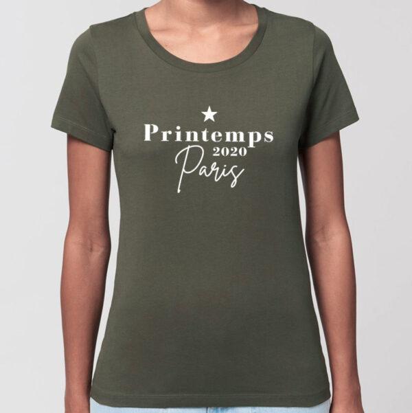 T-shirt en coton bio date souvenir personnalisée kaki