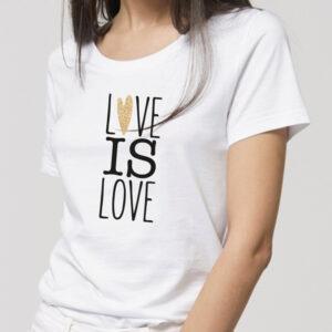T-shirt femme 100% coton biologique manches courtes blanc sérigraphie en noir et doré
