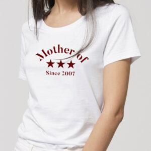 T-shirt personnalisé pour maman en coton bio texte bordeau